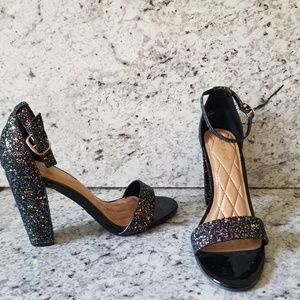 Bamboo sparkly block heels